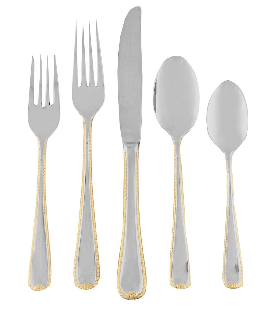 Gorham Golden Ribbon Edge Stainless Steel Flatware