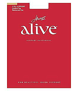 Hanes Alive Full Support Control Top Reinforced-Toe Pantyhose