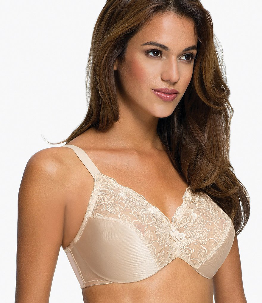Wacoal Elegance Floral-Embroidered Hidden Underwire Minimizer Bra