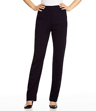 Misook Petite Pull-On Straight Leg Pants
