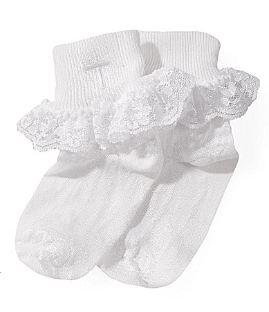 Starting Out Infant Lace-Trimmed Christening Socks