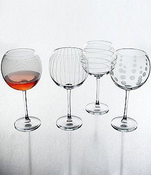 Mikasa Cheers Striped, Swirled & Dotted Balloon Stem Glasses, Set of 4
