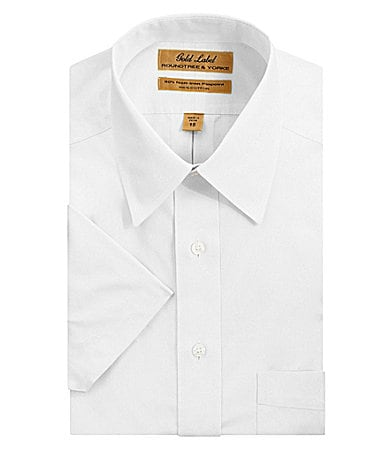 Roundtree & Yorke Gold Label Short-Sleeve Point-Collar Dress Shirt