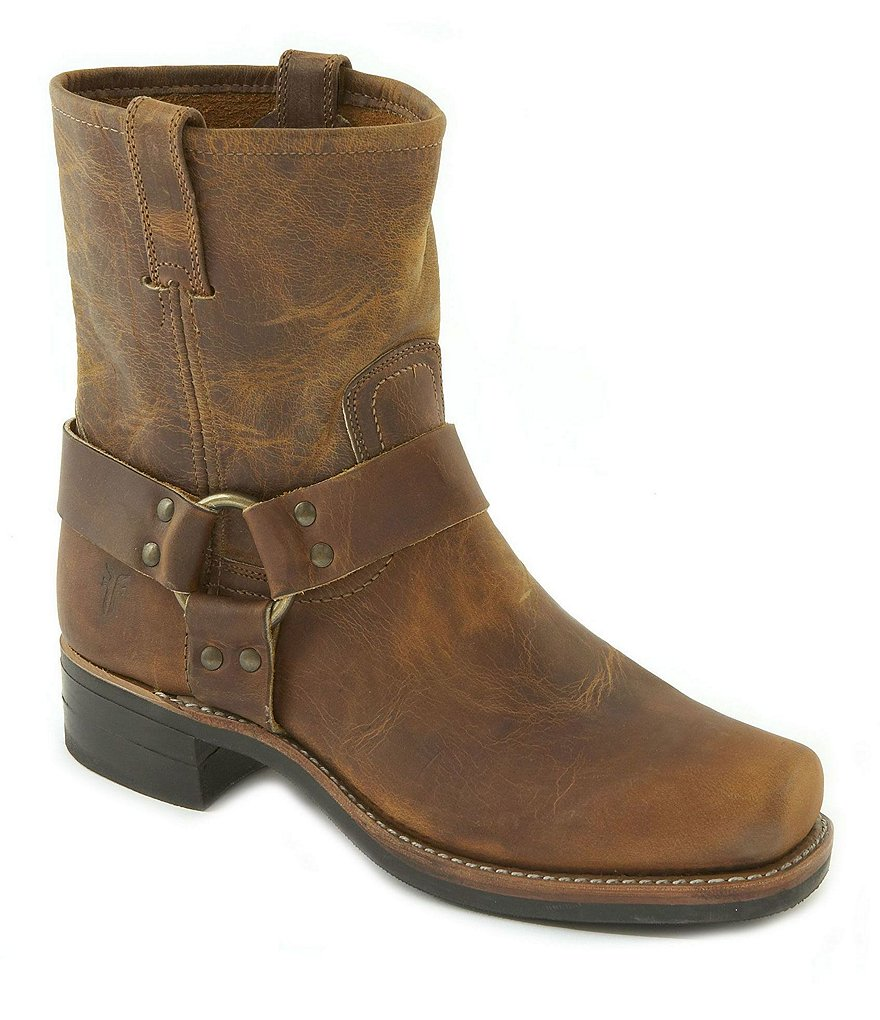 Frye Harness 8 R Leather Square-Toe Boots