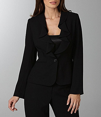 Peter Nygard Ruffle-Collar Jacket