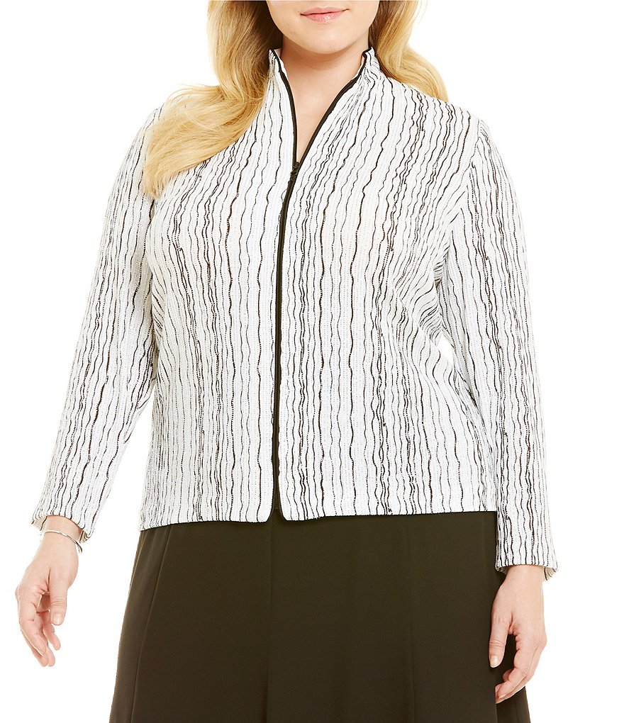 Alex Evenings Plus Wavy Stripe Sparkle Zip-Up Jacket