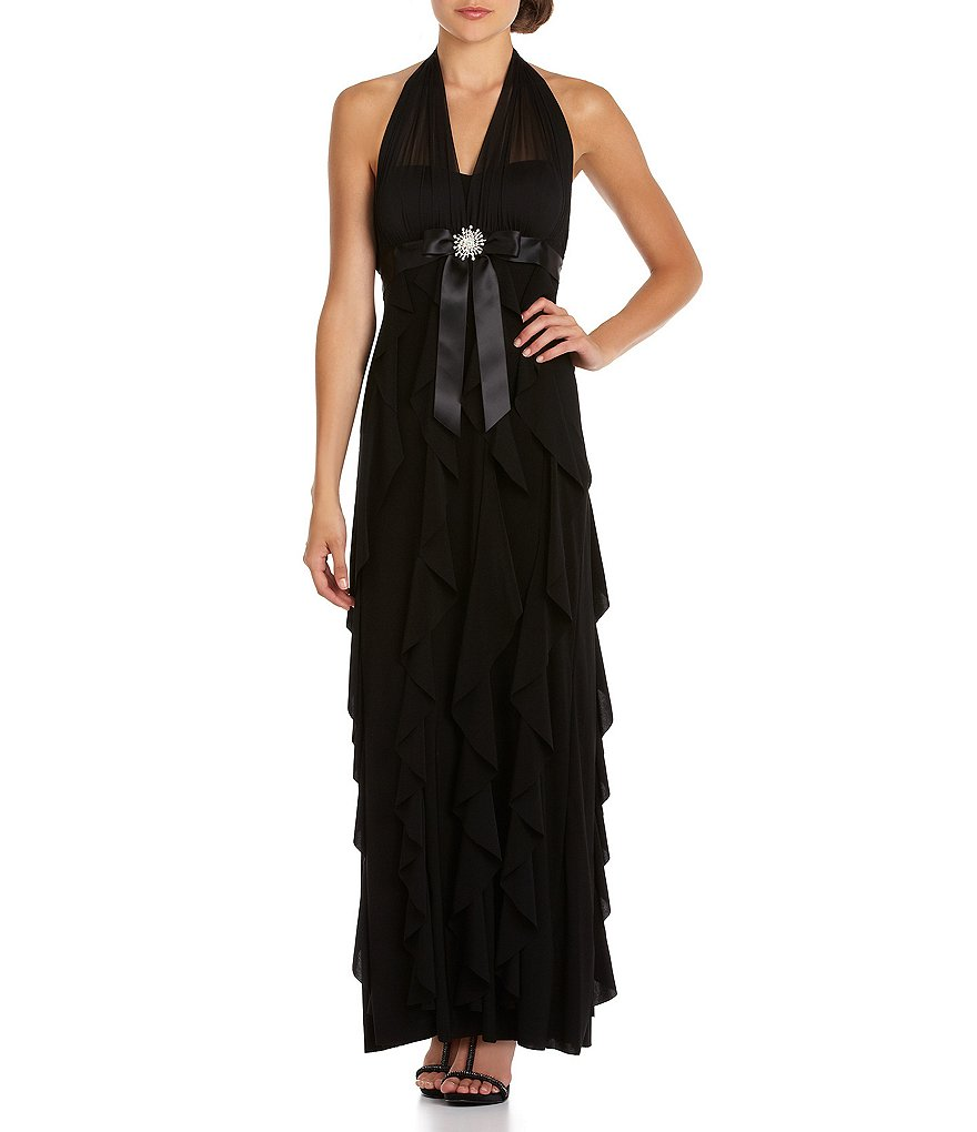 V cut long dresses at dillards