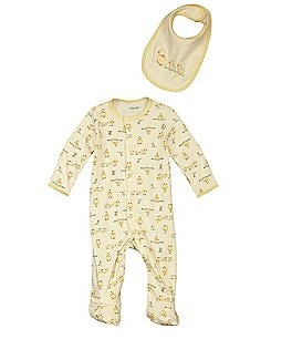 Little Me Newborn-9 Months Duckie Footed Coverall & Bib Set Image