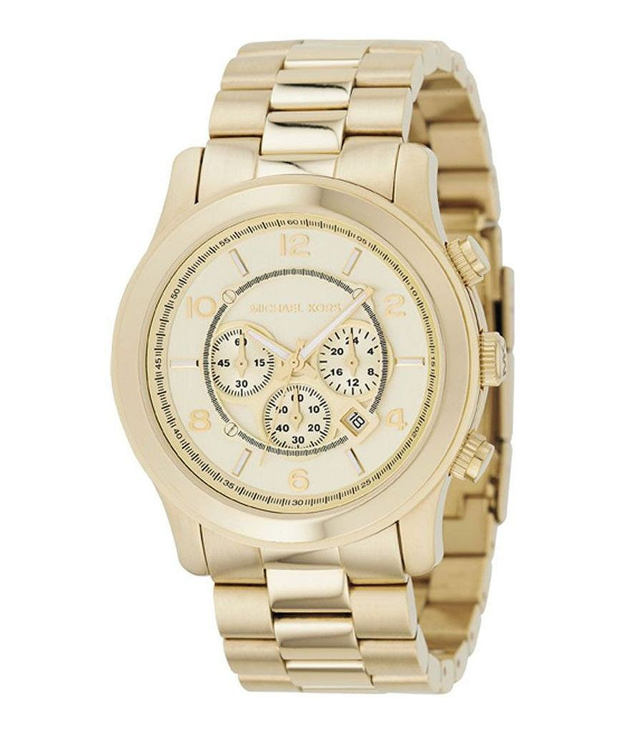 Michael Kors Runway Champagne Dial Chronograph Watch