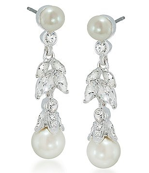 Carolee Pearl Floral Drop Earrings