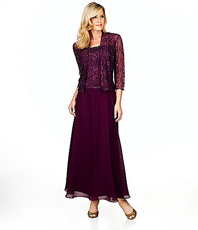 KM Collections Beaded-Lace Jacket Dress