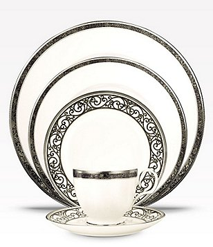 Noritake Meridian Verano Marbled Scroll Platinum China 5-Piece Place Setting