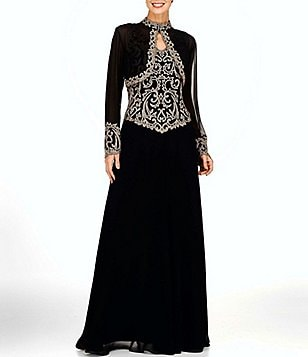 Jkara Bolero Beaded Bodice with Mock Neck Jacket Dress