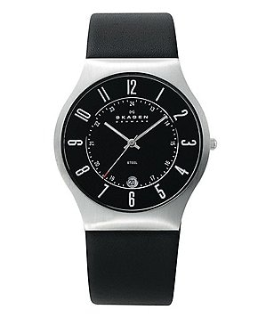 Skagen Modern Stainless Steel Luminus 3 Hand Leather Strap Watch