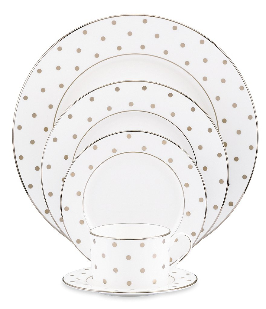 kate spade new york Larabee Road Dotted Platinum Bone China 5-Piece Place Setting