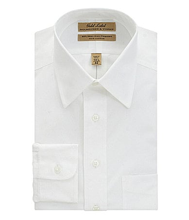 Roundtree & Yorke Gold Label Big & Tall No-Iron Solid Point-Collar Dress Shirt