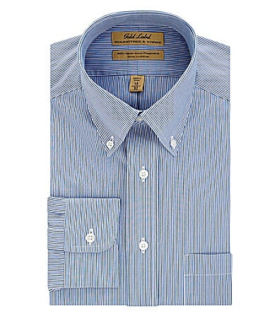 Roundtree & Yorke Gold Label Big & Tall No-Iron Striped Button-Down-Collar Dress Shirt