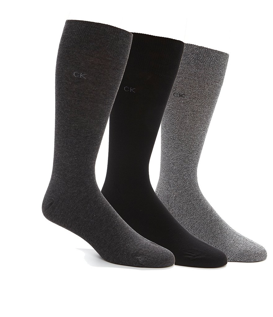 Calvin Klein Combed Flat-Knit Crew Dress Socks 3-Pack