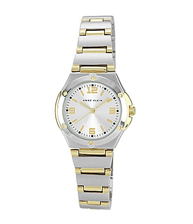 Anne Klein Two-Tone Silver-Dial Watch