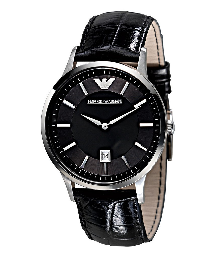 Emporio Armani Crocodile-Embossed Leather Strap Stainless Steel 3 Hand Watch