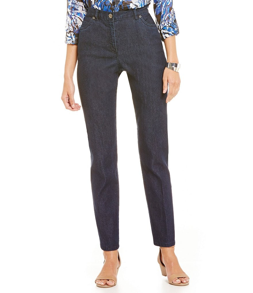 Ruby Rd. Classic Side-Elastic Straight-Leg Jeans