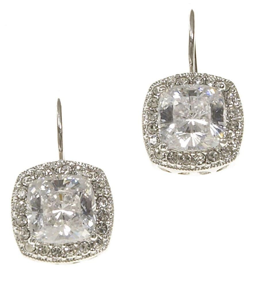 Nadri Framed Cushion-Cut CZ Drop Earrings
