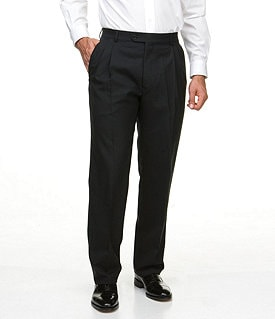 Hart Schaffner Marx Tailored Double-Pleated Wool Dress Pants Image