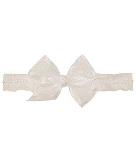 Starting Out Infant White Organza-Bow Ruffled Headband Image