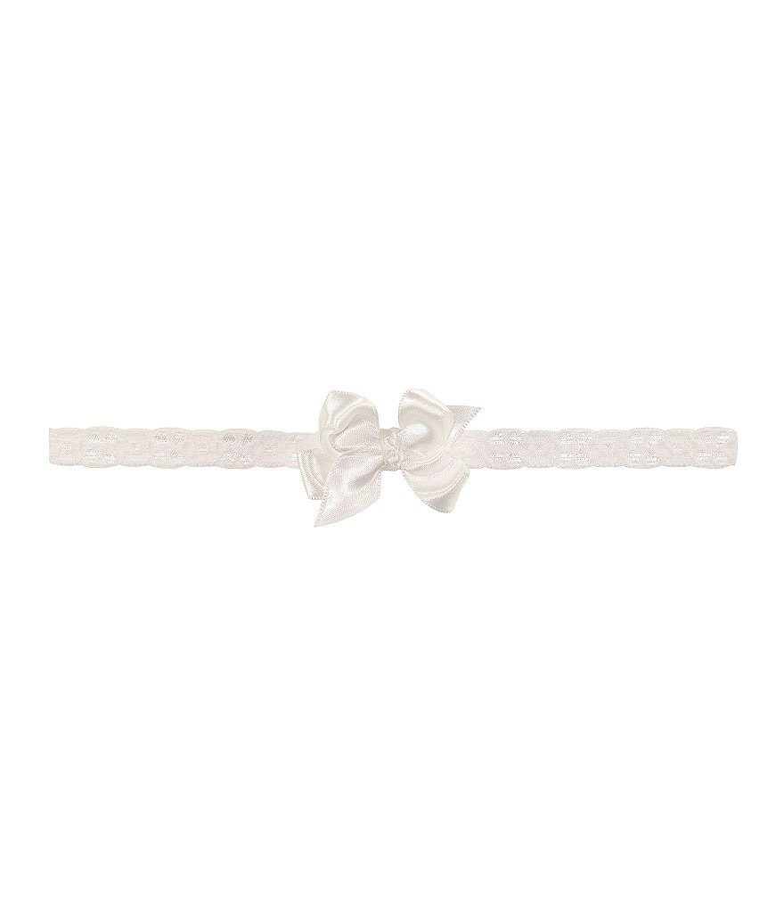 Starting Out Newborn White Satin Bow on Lace Headband