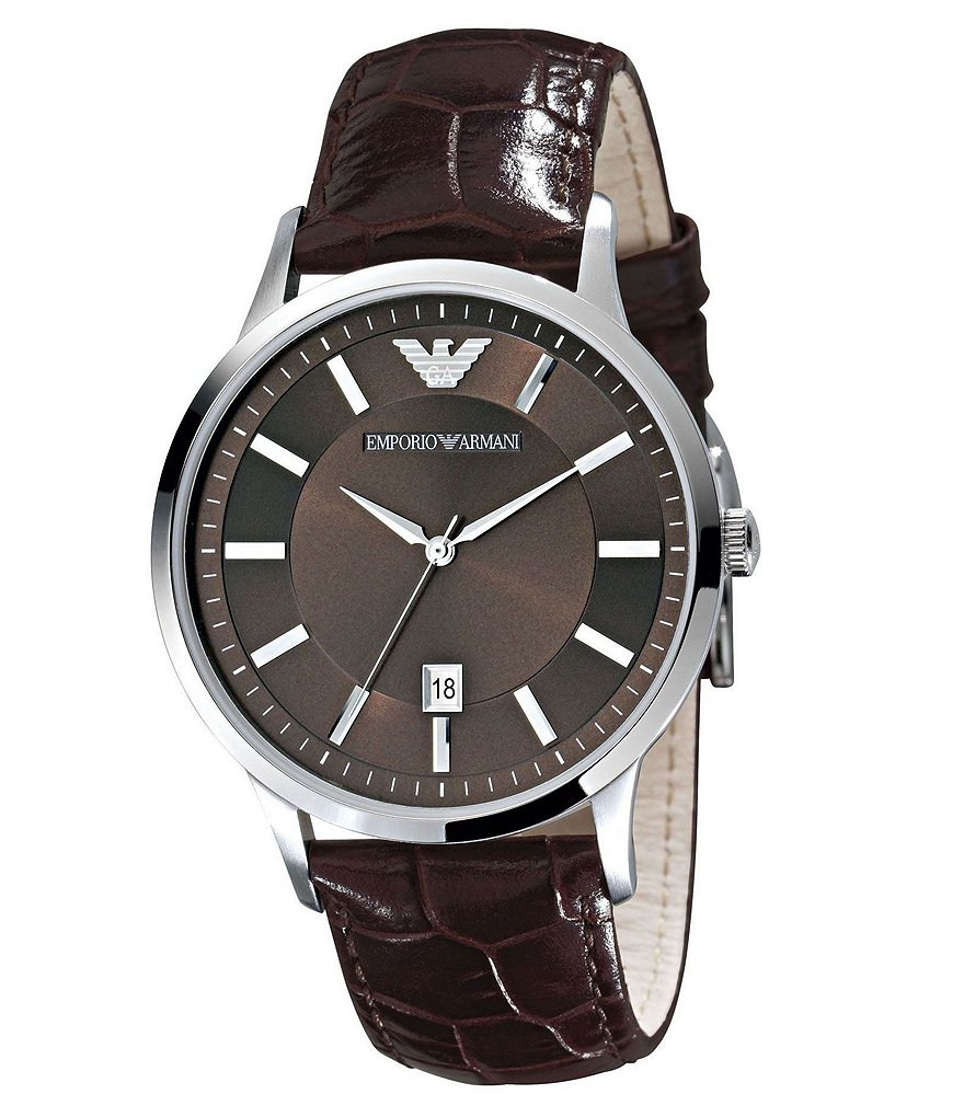 Emporio Armani Classic Crocodile-Embossed Leather Strap Watch
