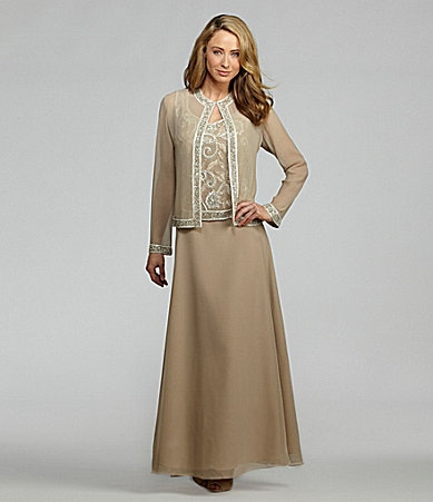 Jkara Chiffon Beaded Jacket Dress