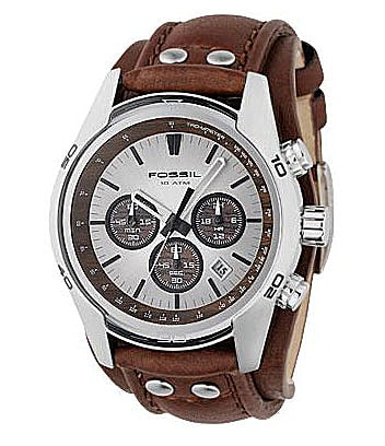 Fossil Leather-Strap Chronograph Watch