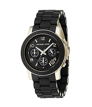 Michael Kors Runway Jet Set Black-Dial Chronograph Watch