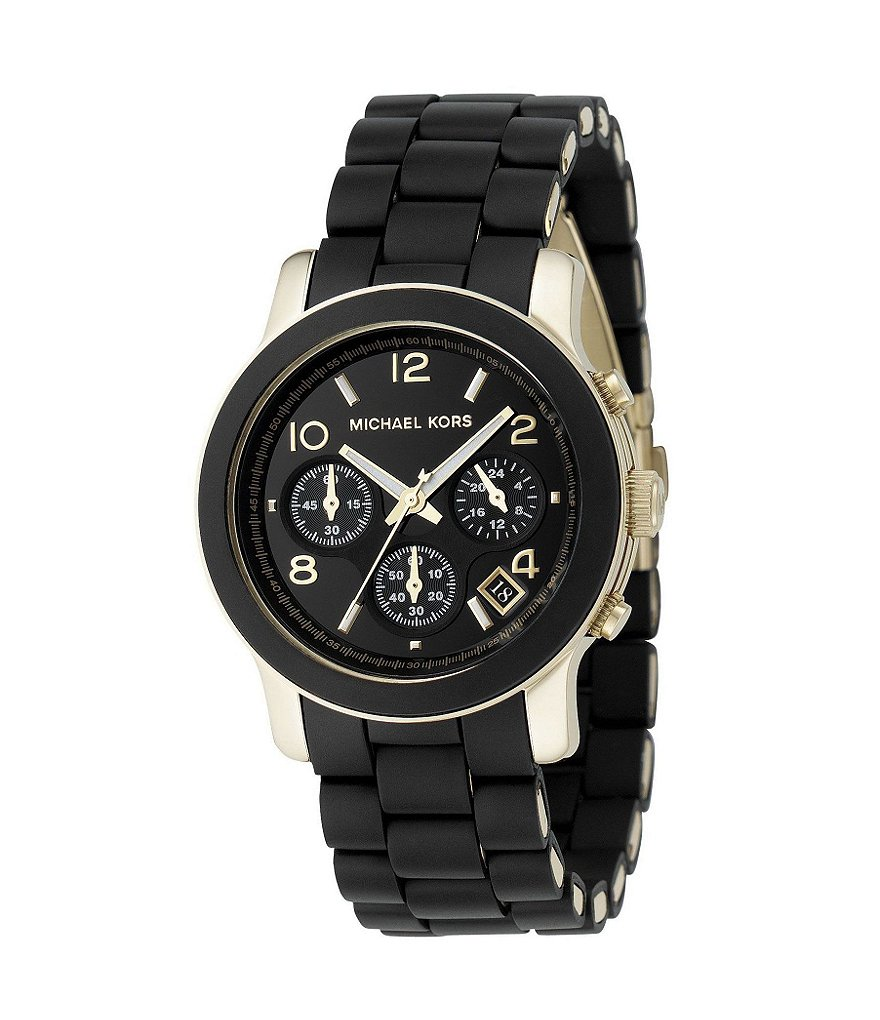 Michael Kors Runway Jet Set Black-Dial 3 Hand Chronograph Watch