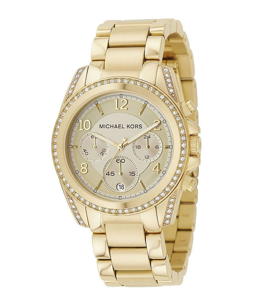 Michael Kors Blair Champagne-Dial Stainless Steel Stone Chronograph Watch
