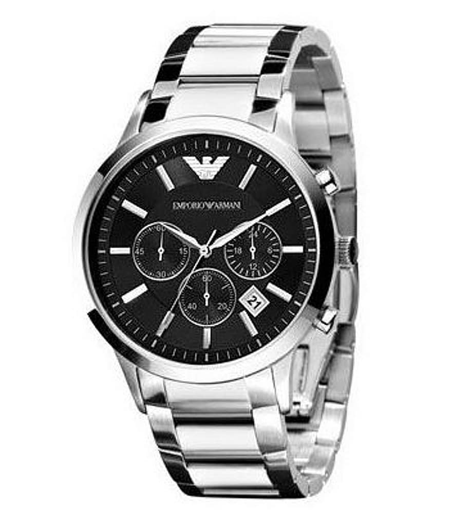 Emporio Armani Classic Black Dial Stainless Steel 3 Hand Chronograph Date Watch