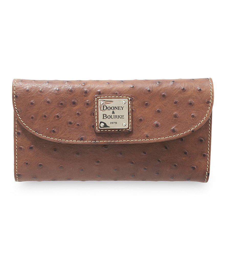 Dooney & Bourke Ostrich-Embossed Checkbook Clutch