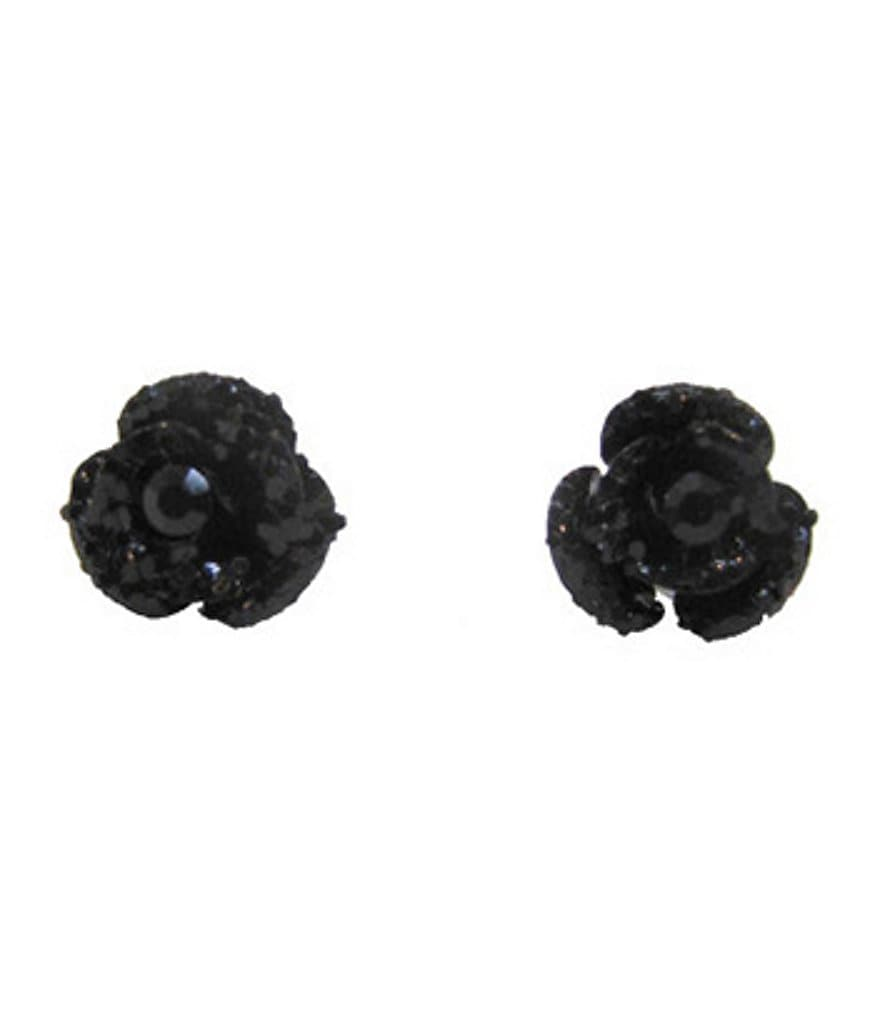 Betsey Johnson Glitter Flower Stud Earrings