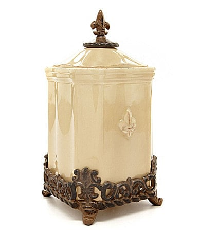 Artimino fleur de lis cream canisters dillards for Cream kitchen set
