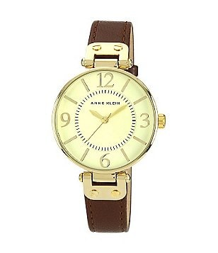 Anne Klein Ivory Dial Brown Leather Strap 3 Hand Watch