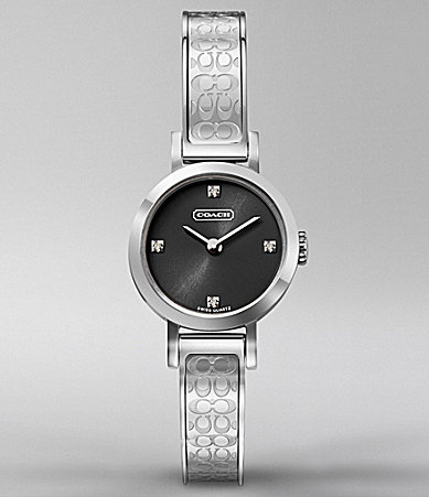 COACH STUDIO ROUND SIGNATURE ETCHED BANGLE WATCH