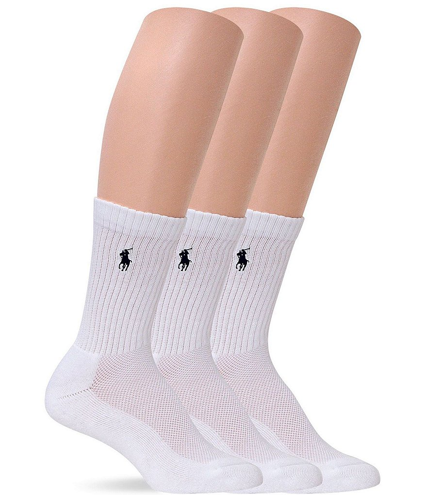 Polo Ralph Lauren Cushion Sole Mesh Top Sport Crew Socks 3-Pack
