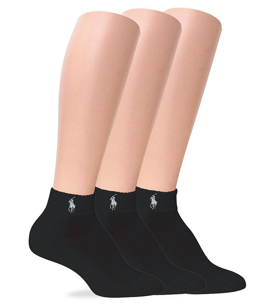 Polo Ralph Lauren Cushion Sole Mesh Top Sport Quarter Socks 3-Pack