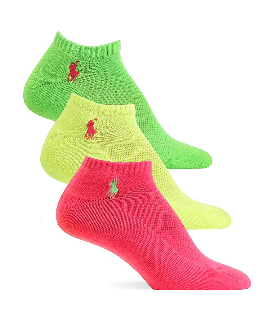 Polo Ralph Lauren Cushion Sole Mesh Top Sport Ped Socks 3-Pack