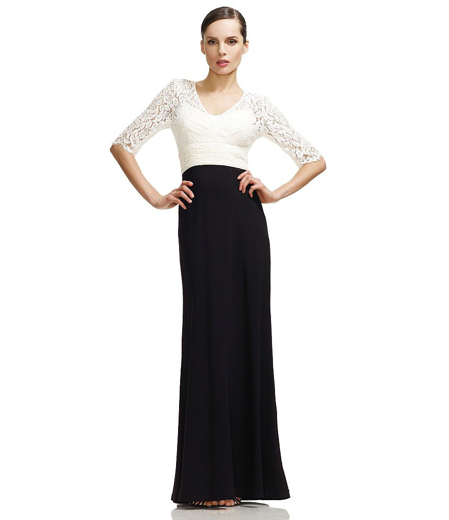 JS Collections Lace & Crepe Gown