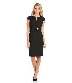 Antonio Melani Quince Shadow-Stripe Belted Dress Image
