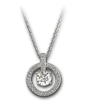 Swarovski Lavender Crystal Chaton Circle Pendant Necklace
