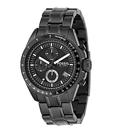 Fossil Decker Black-Plated Chronograph Watch