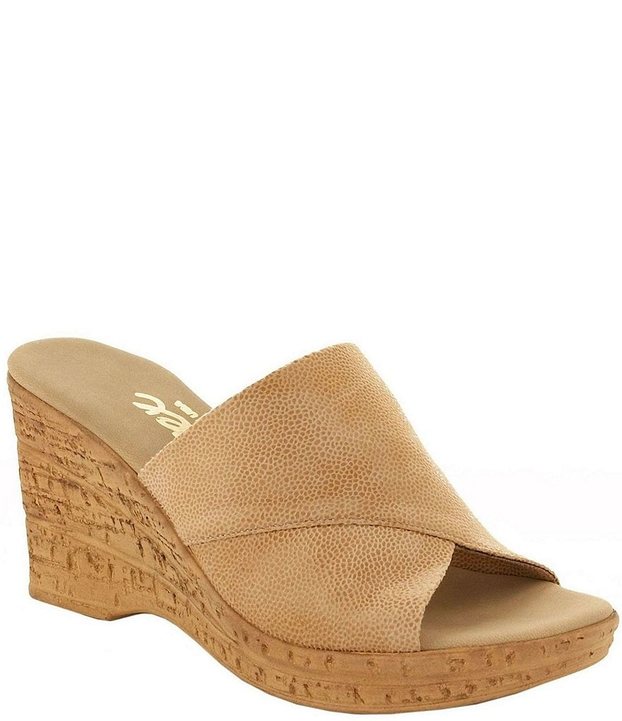 Onex Christina Leather Banded Slide On Cork Wedge Sandals