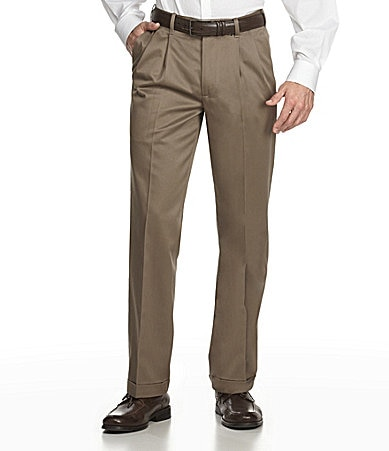 Perry Ellis Casuals Pleated No-Iron Gabardine Pants